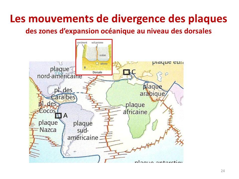 Les mouvements de divergence des plaques des zones d'expansion océanique au niveau des dorsales
