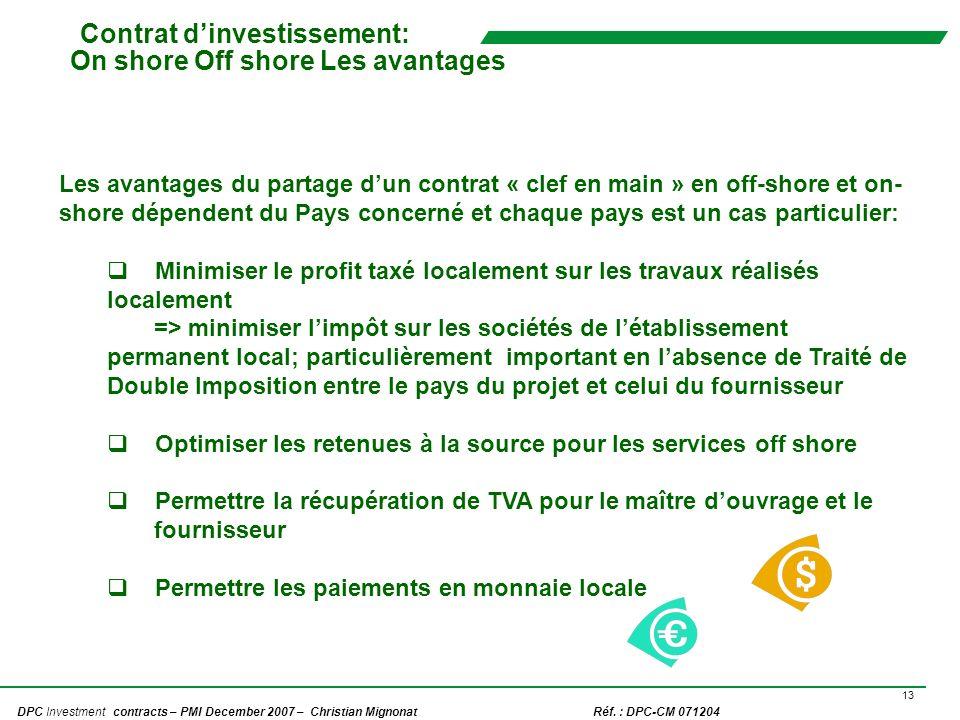 Contrat d'investissement: On shore Off shore Les avantages