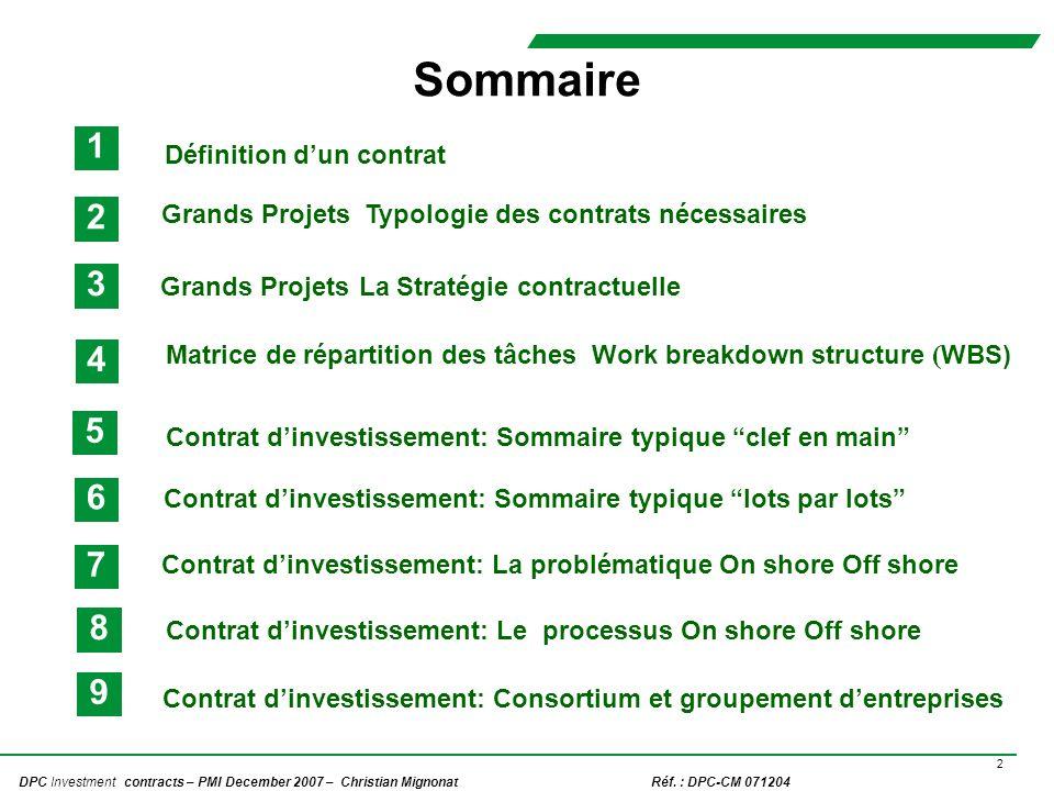 Sommaire 1. Définition d'un contrat. 2. Grands Projets Typologie des contrats nécessaires. Grands Projets La Stratégie contractuelle.