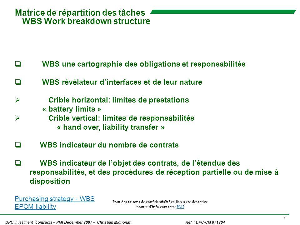 Matrice de répartition des tâches WBS Work breakdown structure