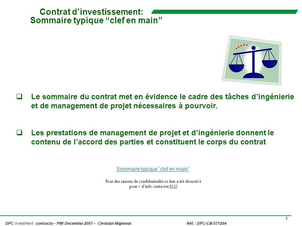 Contrat d'investissement: Sommaire typique clef en main