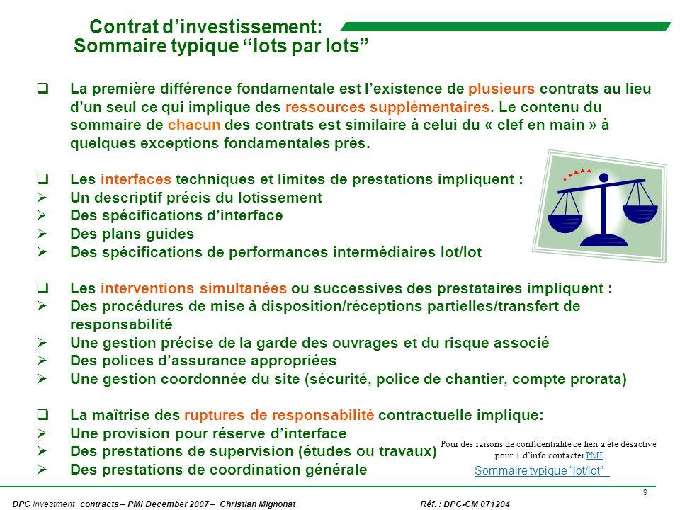 Contrat d'investissement: Sommaire typique lots par lots