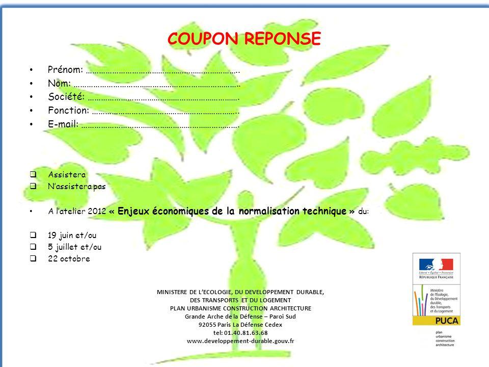 COUPON REPONSE Prénom: ……………………………………………………………..