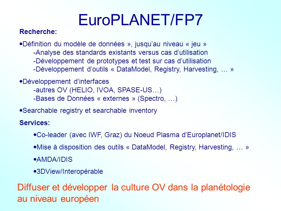EuroPLANET/FP7 Recherche: Définition du modèle de données », jusqu'au niveau « jeu » Analyse des standards existants versus cas d'utilisation.