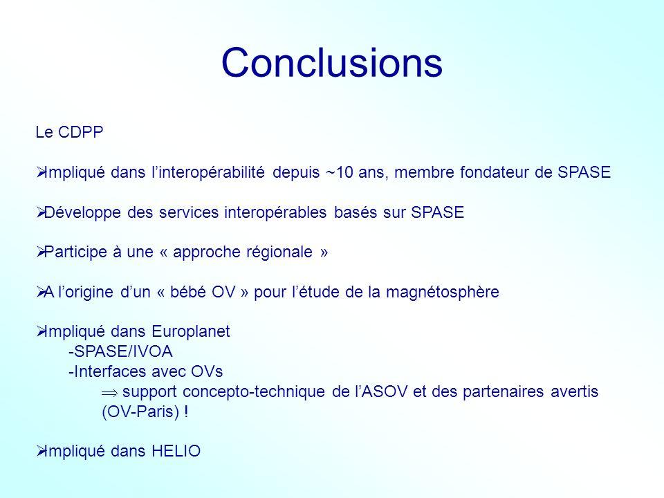 Conclusions Le CDPP. Impliqué dans l'interopérabilité depuis ~10 ans, membre fondateur de SPASE.