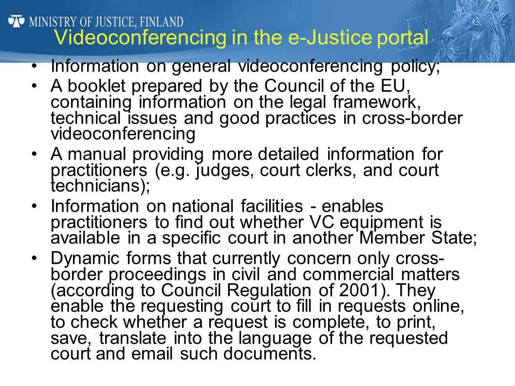 Videoconferencing in the e-Justice portal