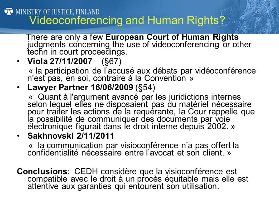 Videoconferencing and Human Rights