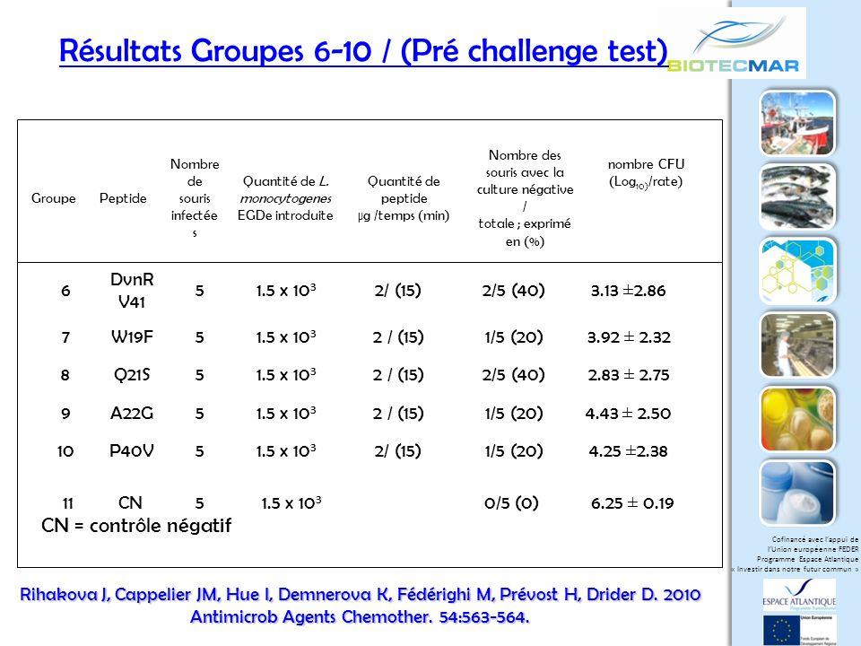 Résultats Groupes 6-10 / (Pré challenge test)