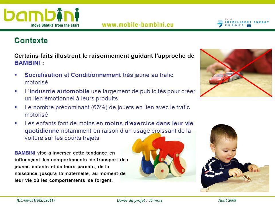 Contexte Certains faits illustrent le raisonnement guidant l'approche de BAMBINI : Socialisation et Conditionnement très jeune au trafic motorisé.