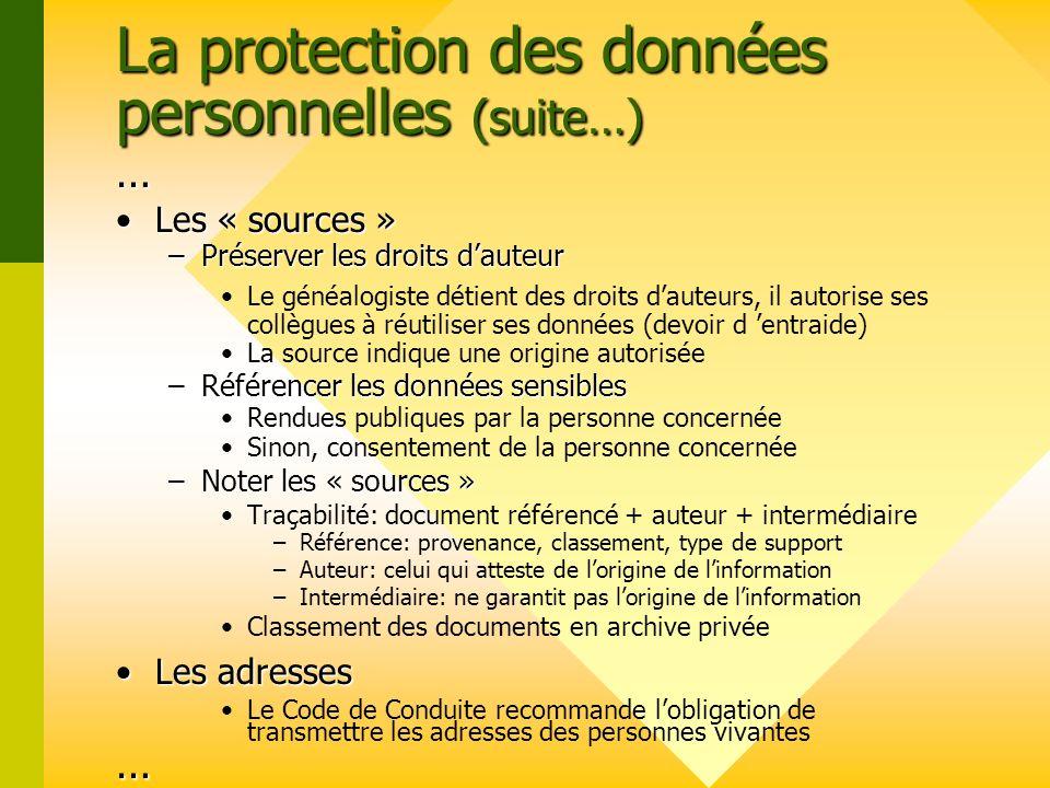 La protection des données personnelles (suite…)