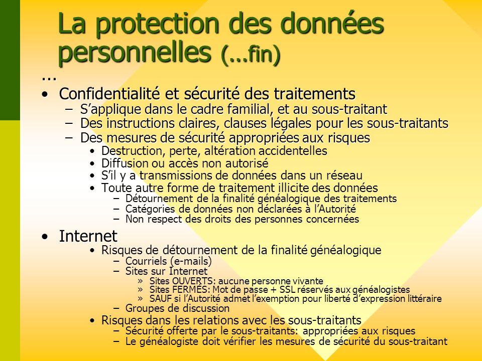 La protection des données personnelles (...fin)