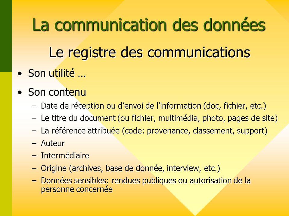 La communication des données