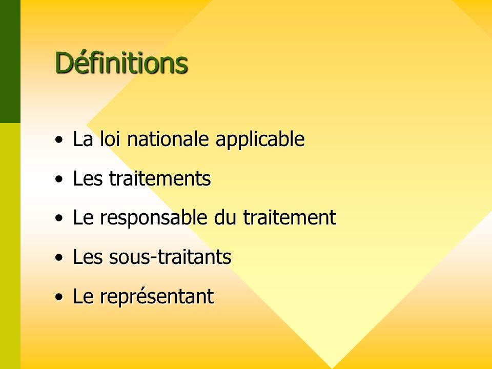Définitions La loi nationale applicable Les traitements