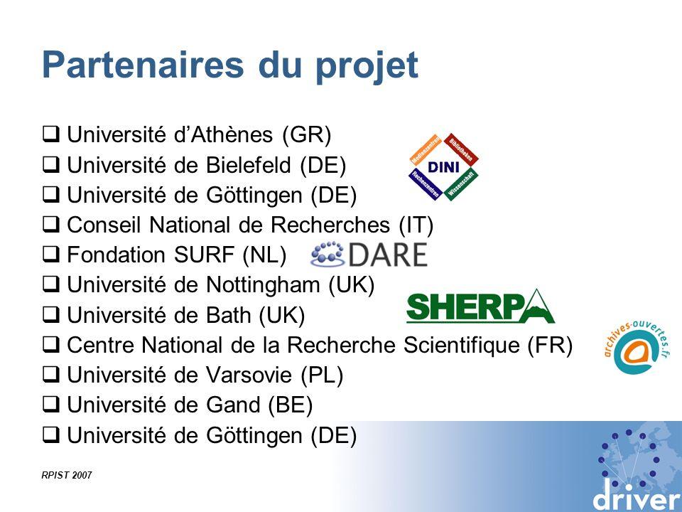 Partenaires du projet Université d'Athènes (GR)