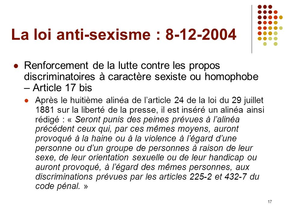 La loi anti-sexisme : 8-12-2004