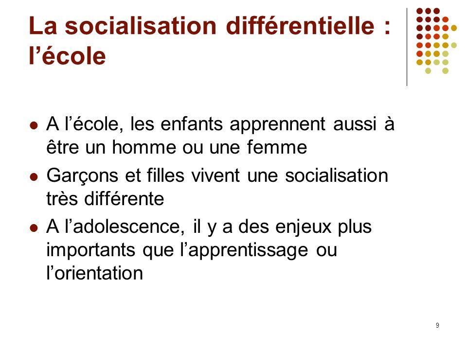 La socialisation différentielle : l'école