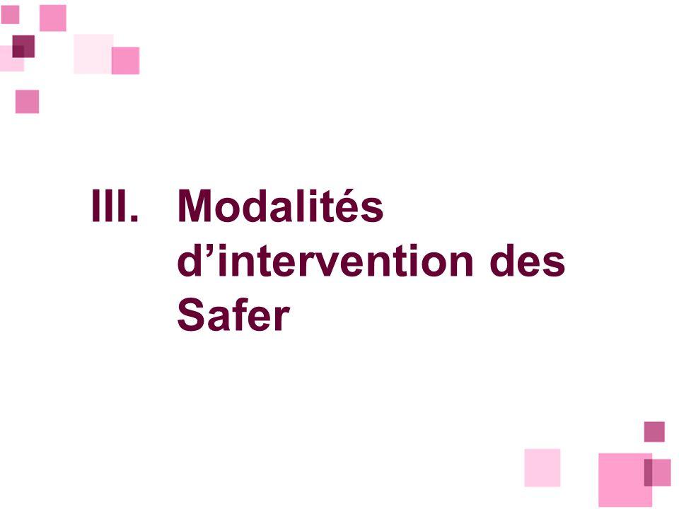 III. Modalités d'intervention des Safer