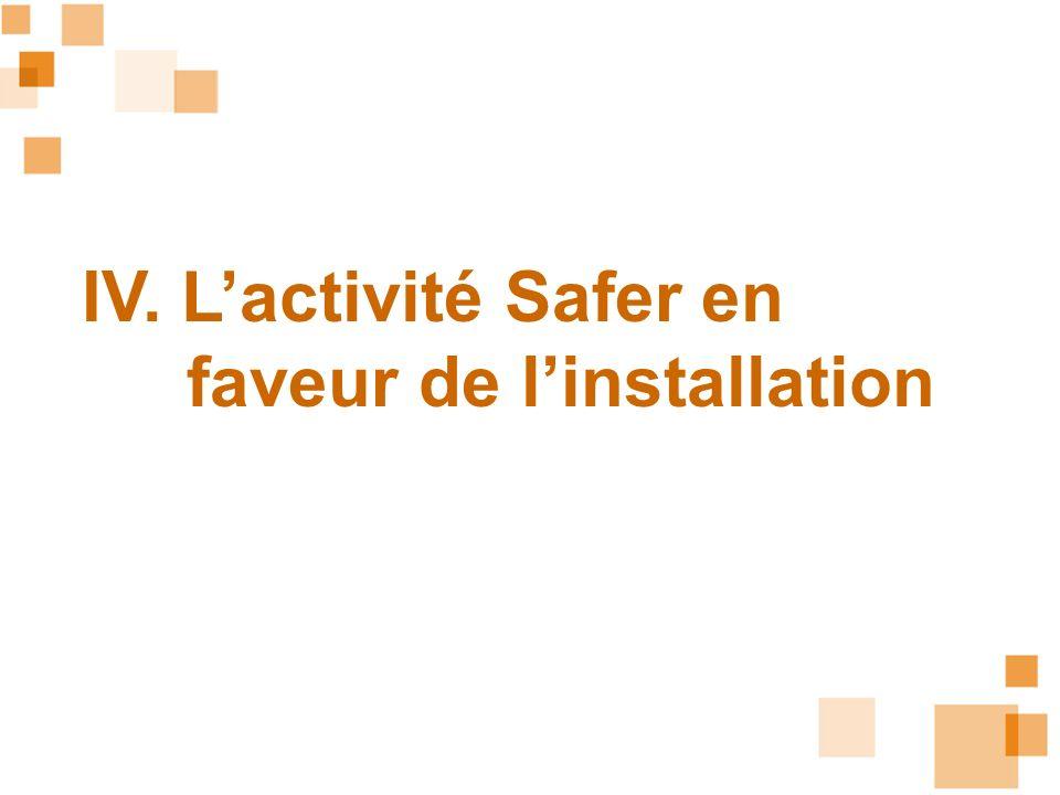 IV. L'activité Safer en faveur de l'installation