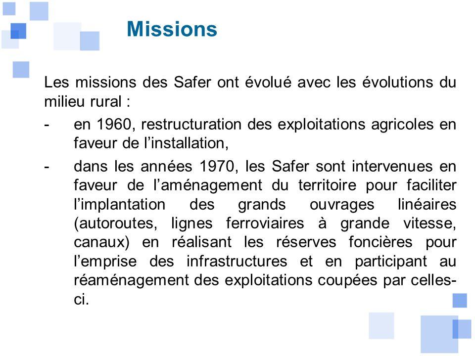 Missions Les missions des Safer ont évolué avec les évolutions du milieu rural :