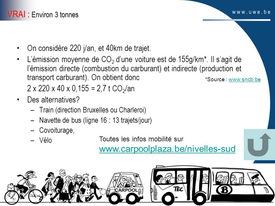 VRAI : Environ 3 tonnes www.carpoolplaza.be/nivelles-sud