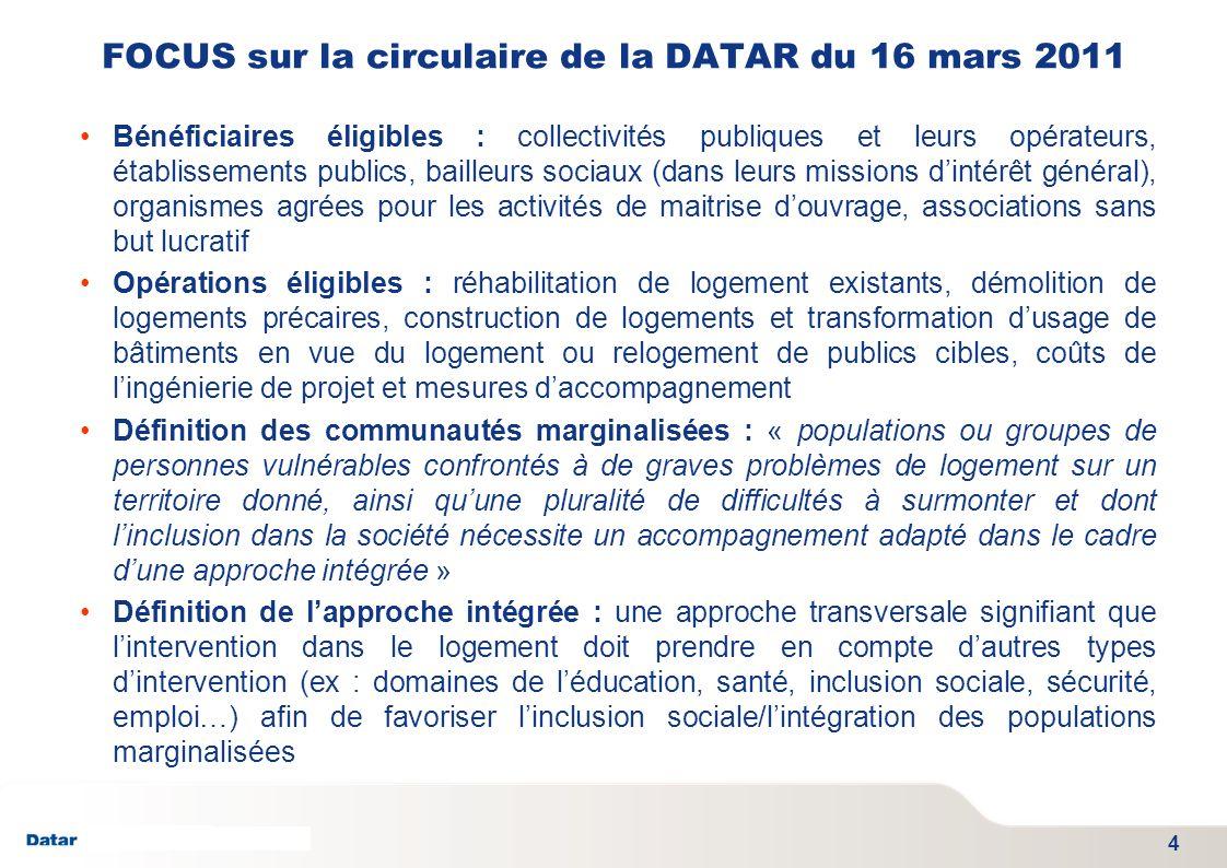 FOCUS sur la circulaire de la DATAR du 16 mars 2011