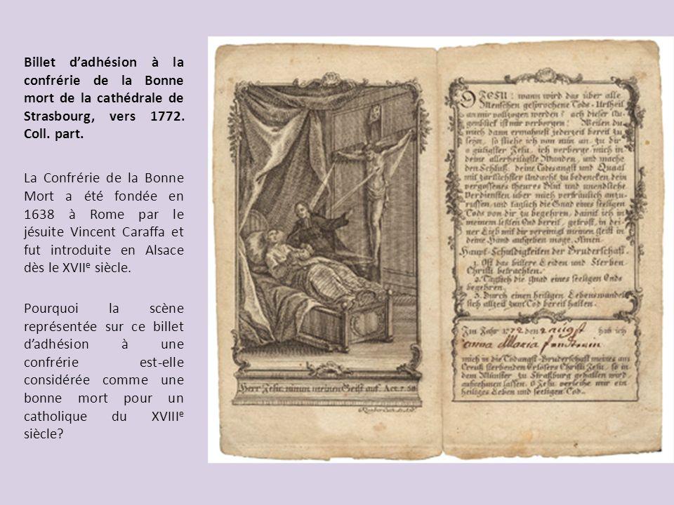 Billet d'adhésion à la confrérie de la Bonne mort de la cathédrale de Strasbourg, vers 1772. Coll. part.