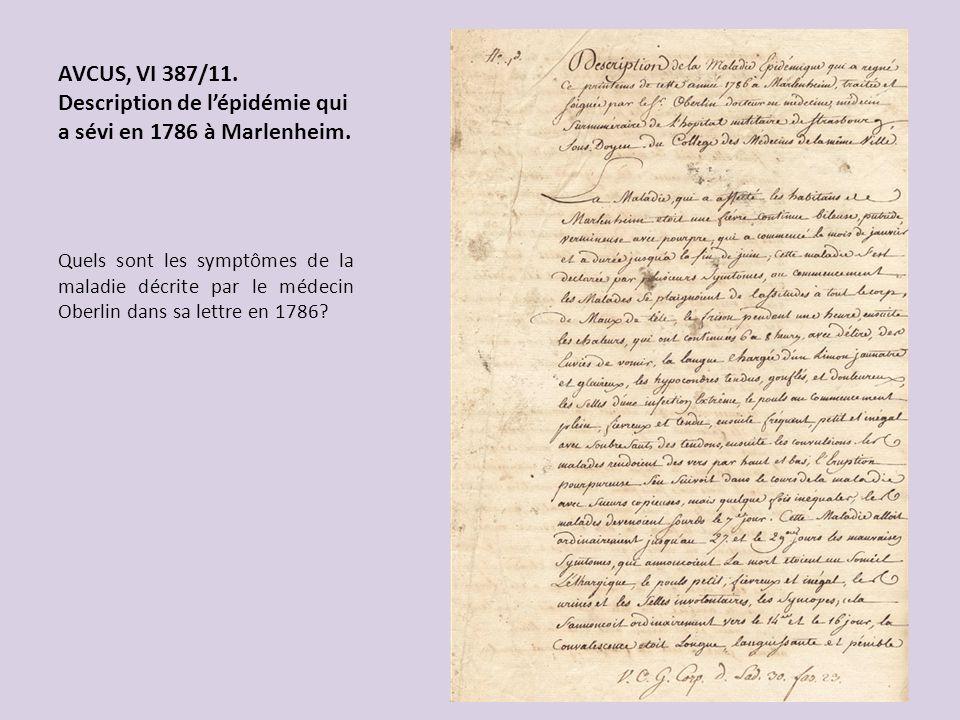 AVCUS, VI 387/11. Description de l'épidémie qui a sévi en 1786 à Marlenheim.