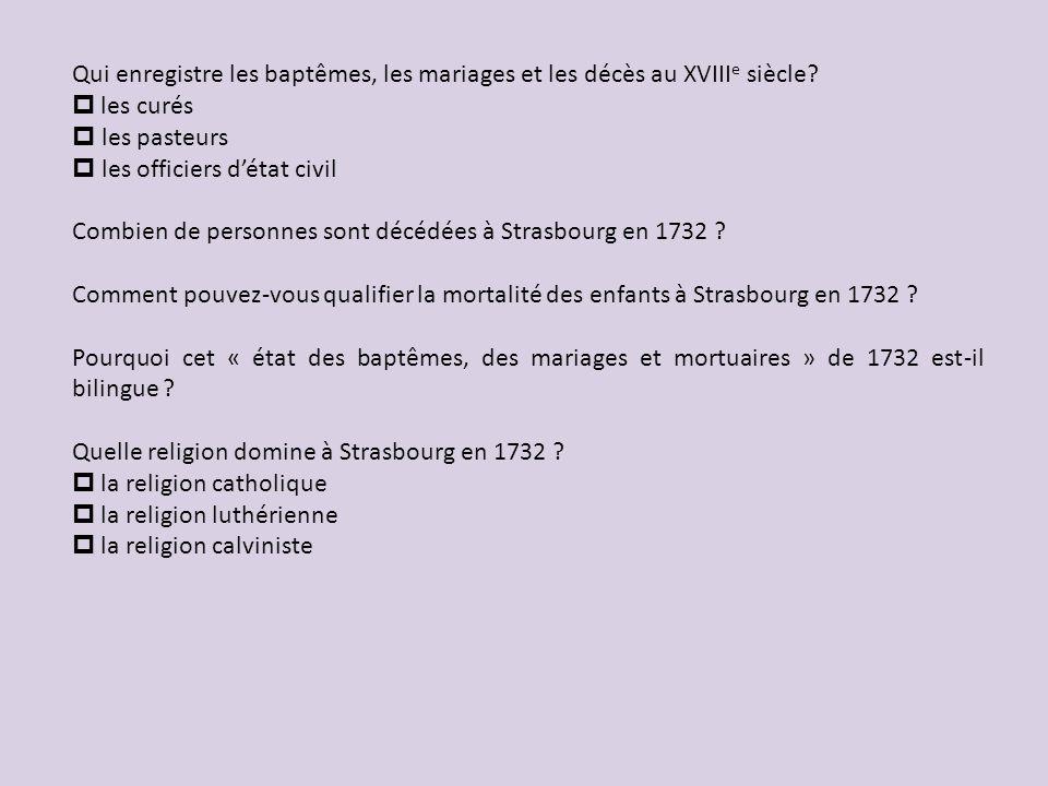 Qui enregistre les baptêmes, les mariages et les décès au XVIIIe siècle