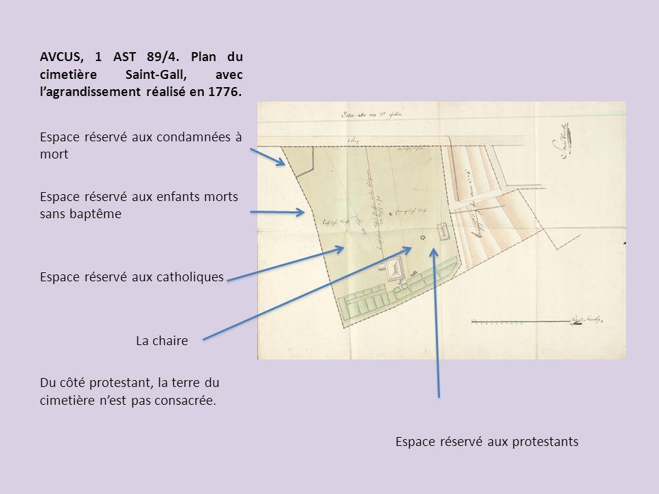 AVCUS, 1 AST 89/4. Plan du cimetière Saint-Gall, avec l'agrandissement réalisé en 1776.