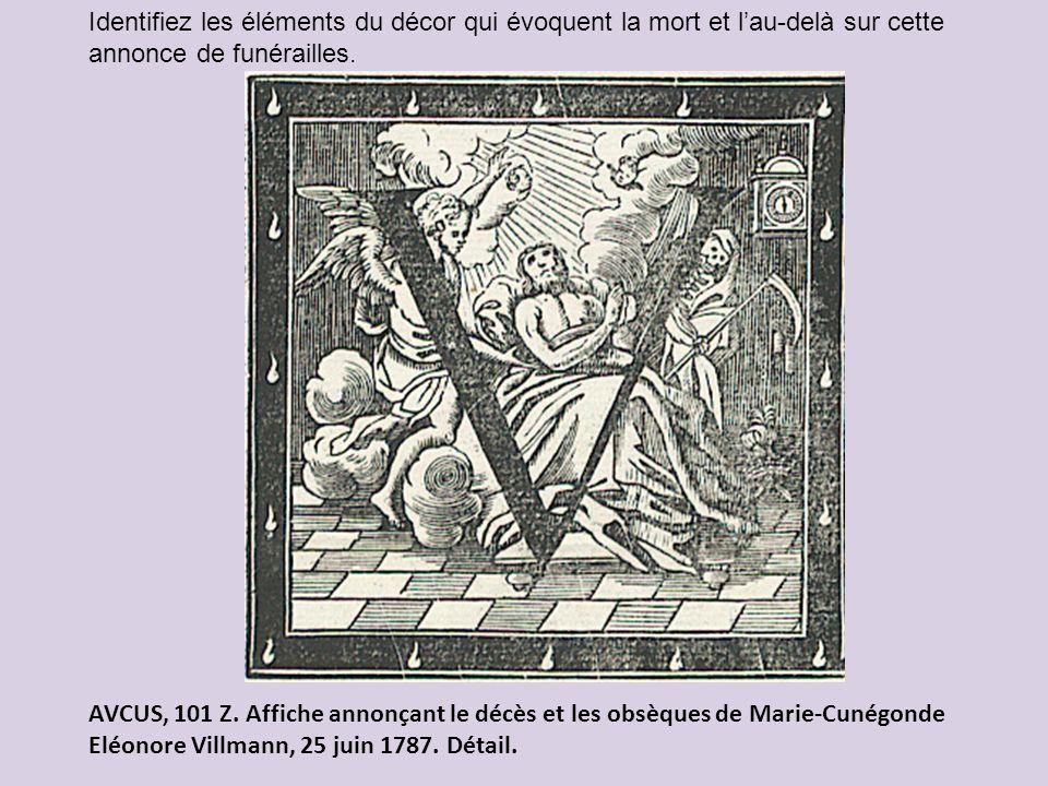 Identifiez les éléments du décor qui évoquent la mort et l'au-delà sur cette annonce de funérailles.