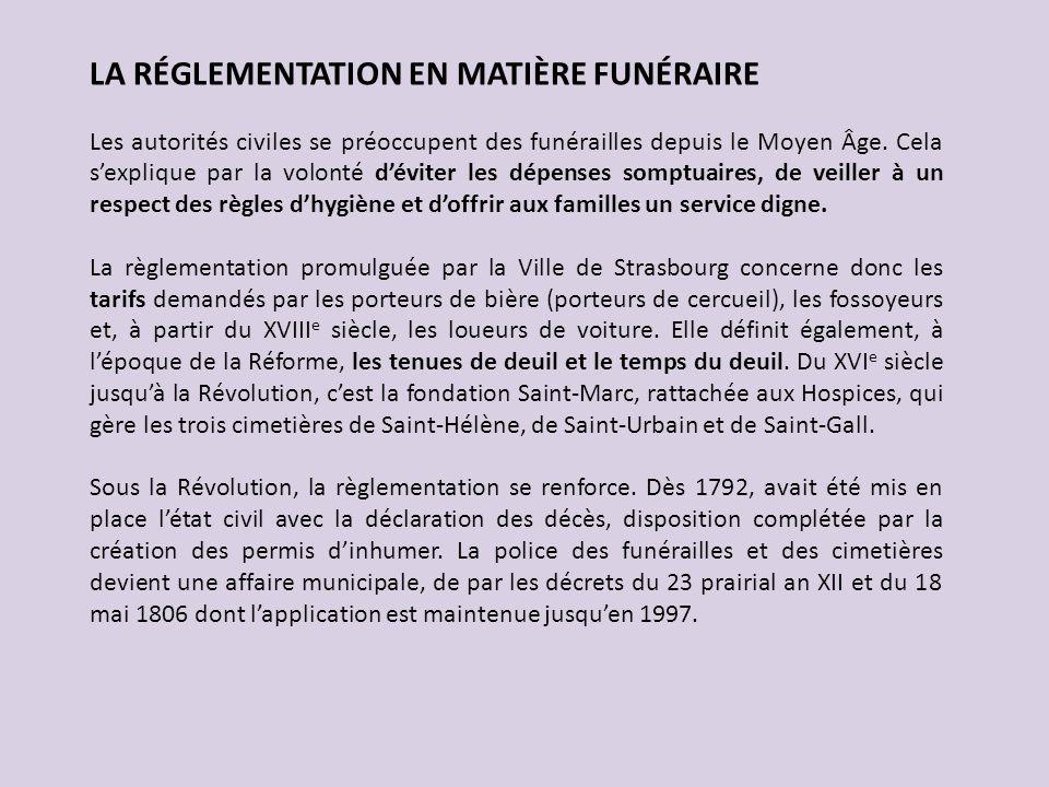 LA RÉGLEMENTATION EN MATIÈRE FUNÉRAIRE