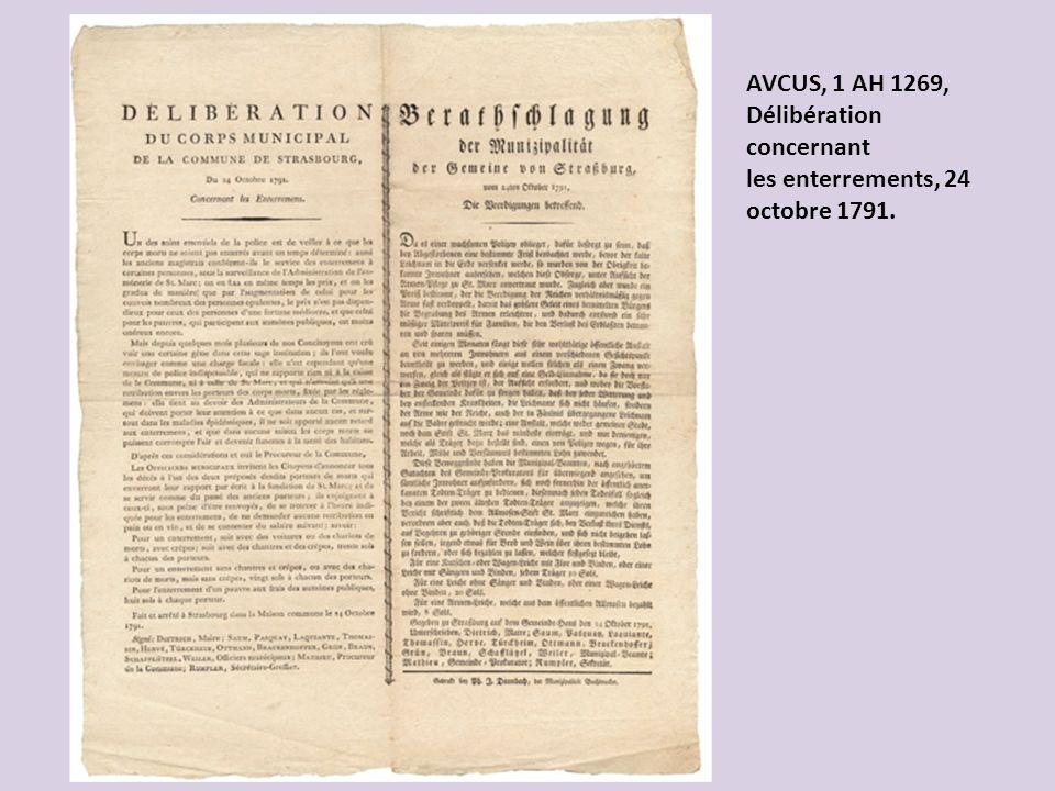 AVCUS, 1 AH 1269, Délibération concernant