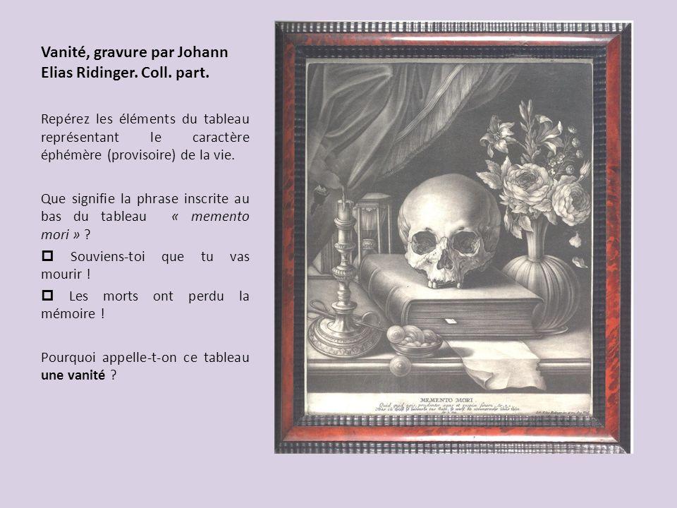 Vanité, gravure par Johann Elias Ridinger. Coll. part.