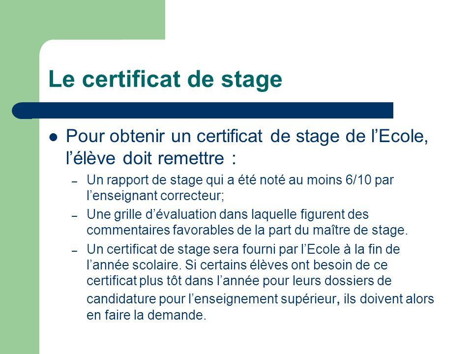 Le certificat de stage Pour obtenir un certificat de stage de l'Ecole, l'élève doit remettre :