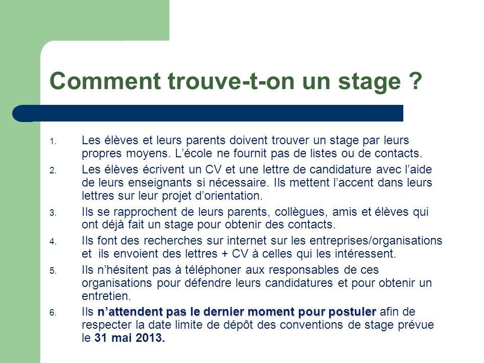 Comment trouve-t-on un stage