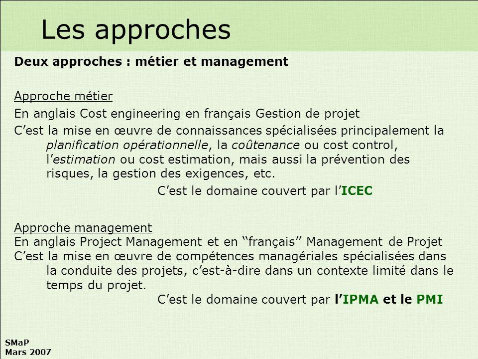 Les approches Deux approches : métier et management Approche métier