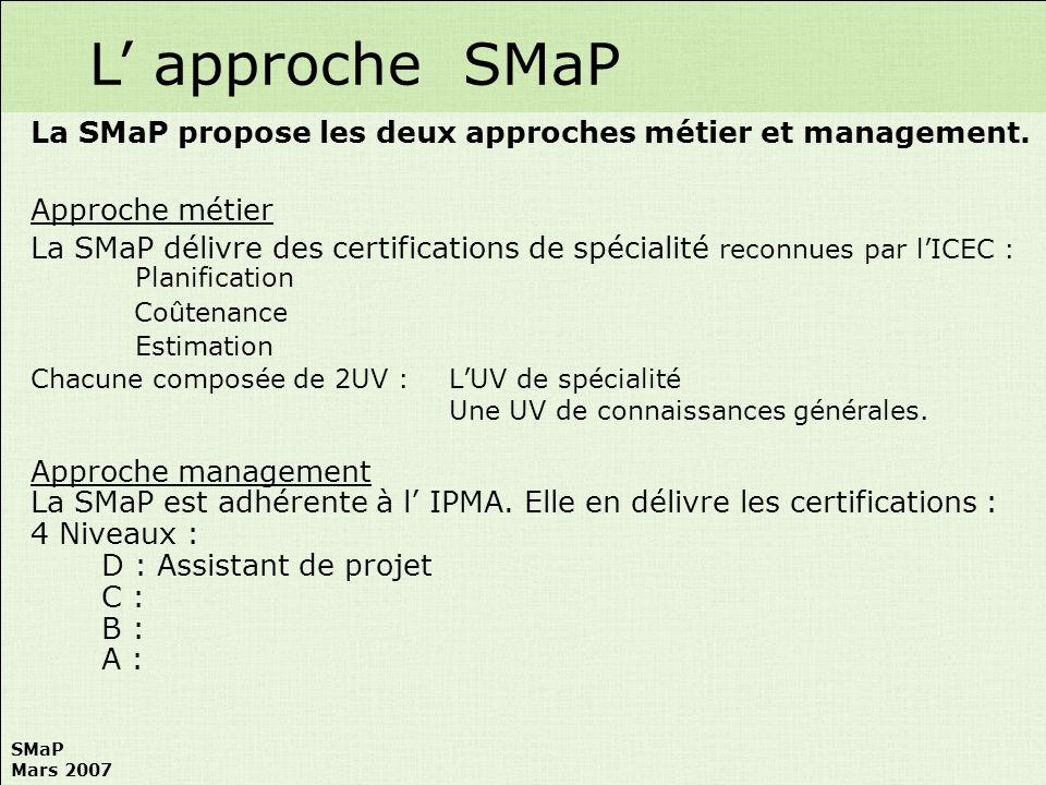 L' approche SMaP La SMaP propose les deux approches métier et management. Approche métier.
