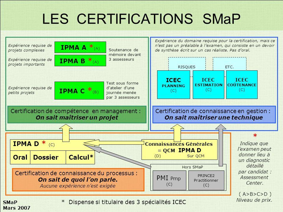LES CERTIFICATIONS SMaP