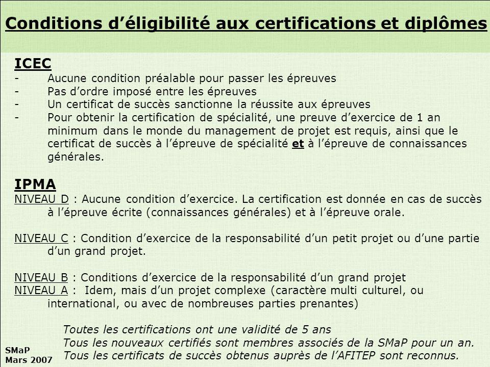 Conditions d'éligibilité aux certifications et diplômes
