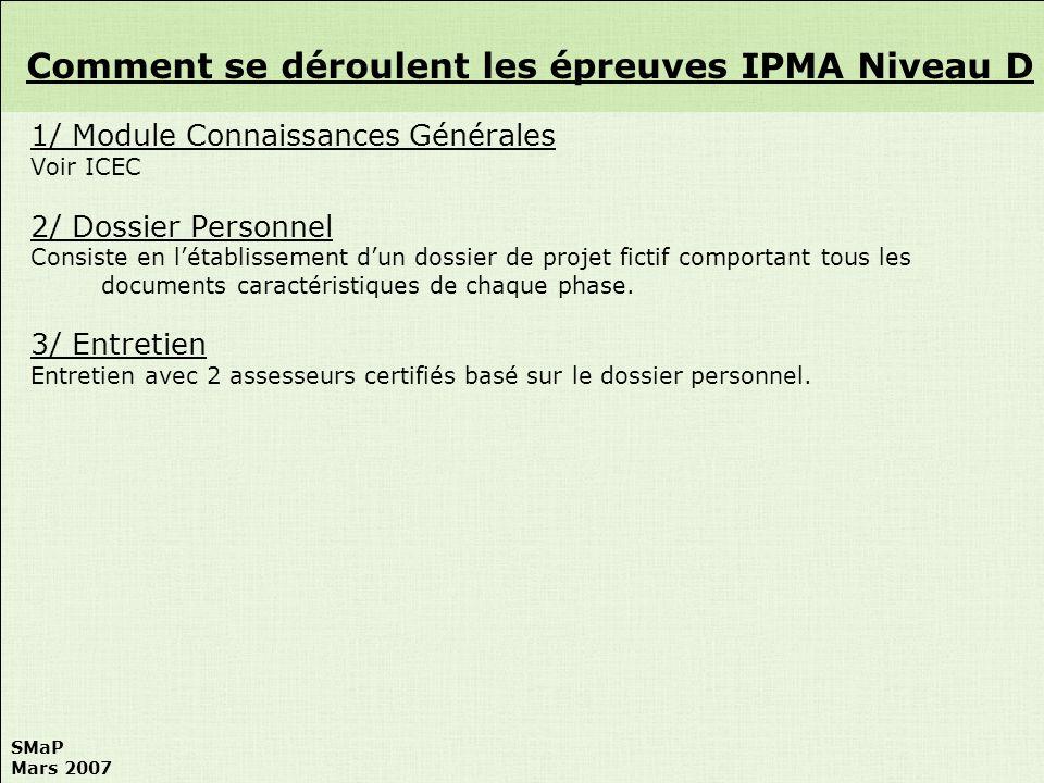 Comment se déroulent les épreuves IPMA Niveau D