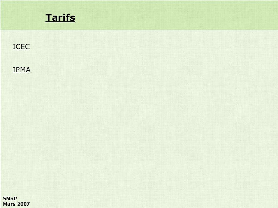 Tarifs ICEC IPMA