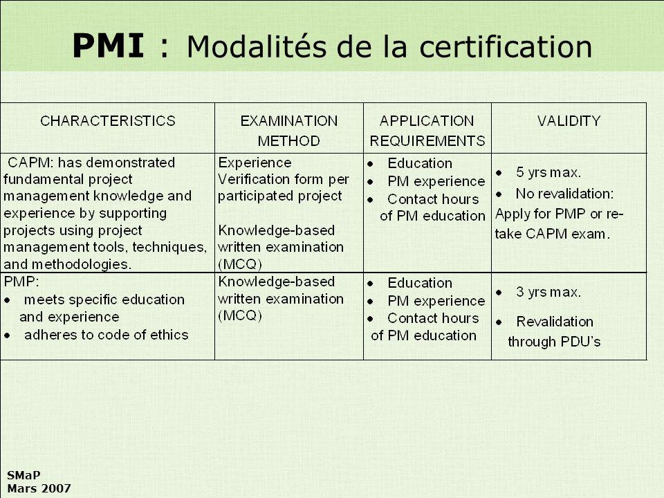 PMI : Modalités de la certification