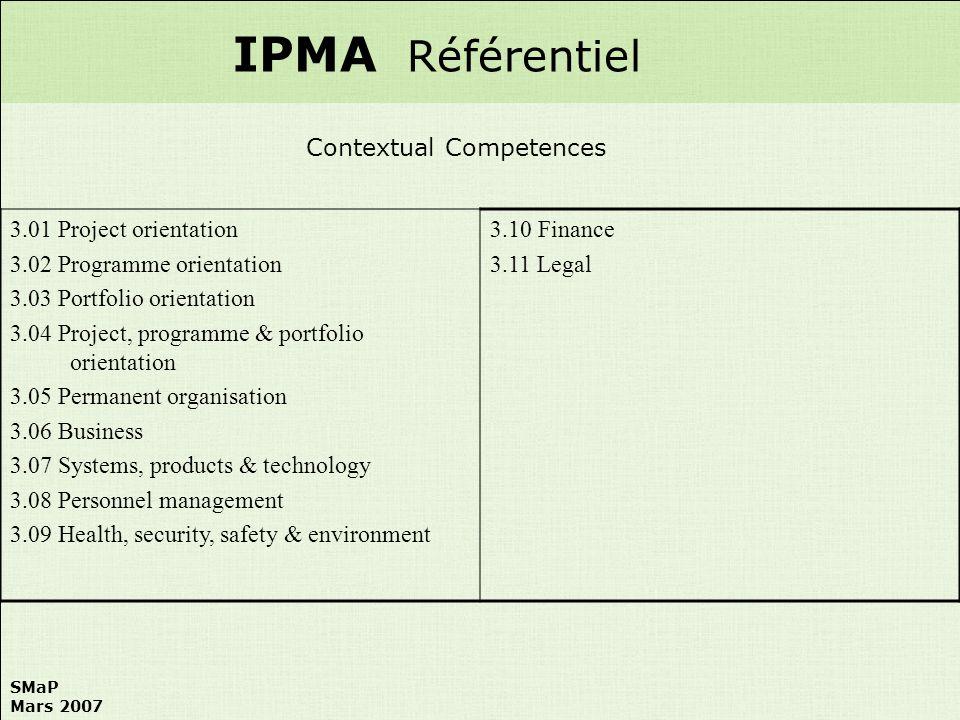 IPMA Référentiel Contextual Competences 3.01 Project orientation