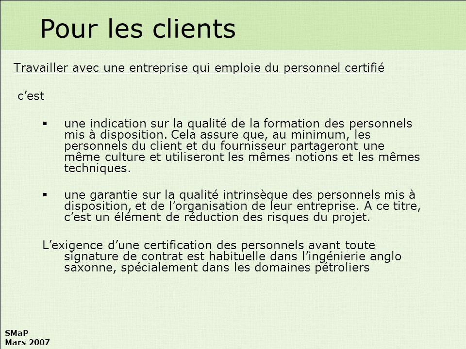 Pour les clientsTravailler avec une entreprise qui emploie du personnel certifié. c'est.