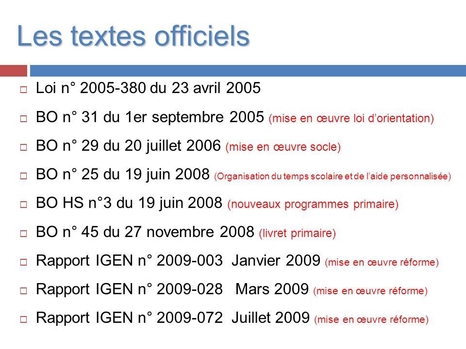 Les textes officiels Loi n° 2005-380 du 23 avril 2005