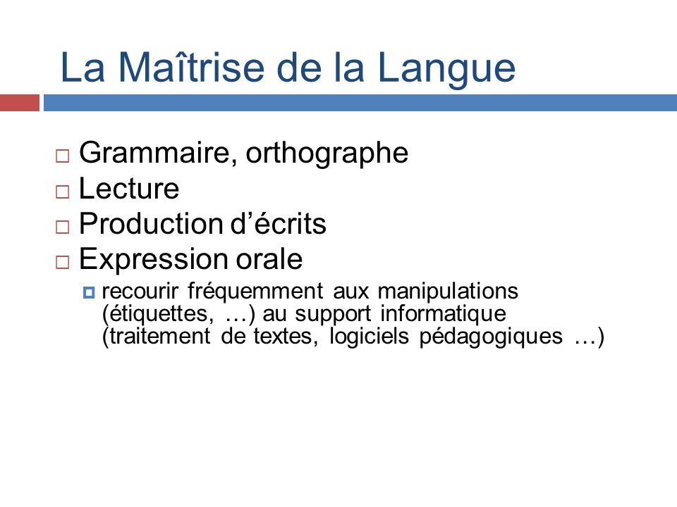La Maîtrise de la Langue