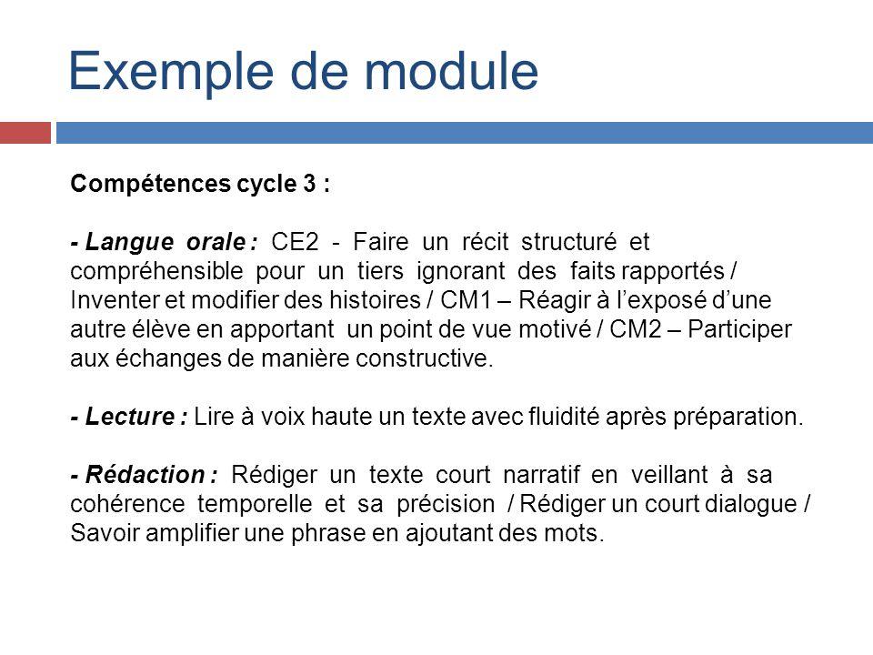 Exemple de module Compétences cycle 3 :