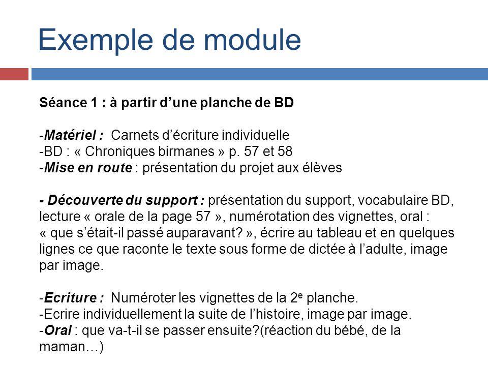 Exemple de module Séance 1 : à partir d'une planche de BD