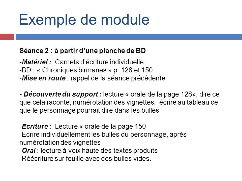 Exemple de module Séance 2 : à partir d'une planche de BD