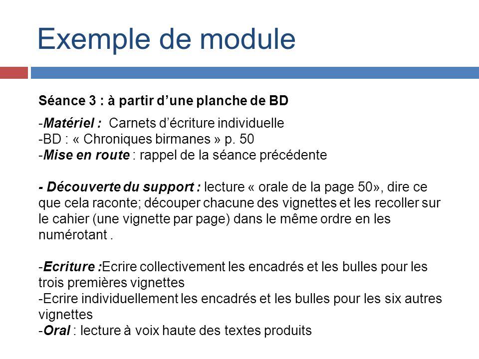 Exemple de module Séance 3 : à partir d'une planche de BD